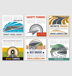 Road travel and traffic safety flyer template vector