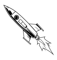 rocket in comic style vector image