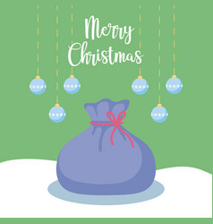 santa claus sack with balls of christmas vector image