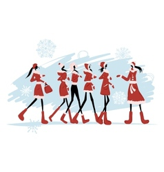 Santa girls for your design vector image