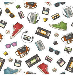 Seamless pattern retro technology object vintage vector
