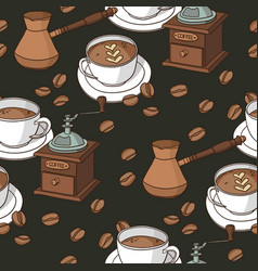 Seamless pattern with coffee cups coffee grinder vector