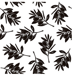 seamless pattern with image olive branch vector image