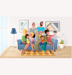 Selfie photo of big happy family cartoon vector
