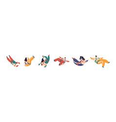 Set cartoon colorful free fall people vector