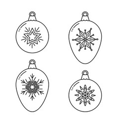 set christmas bauble line icons vector image