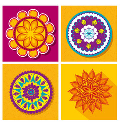 set flower mandalas decoration festival vector image