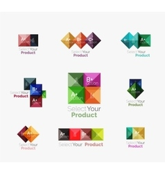 Set of abstract square interface menu navigation vector image