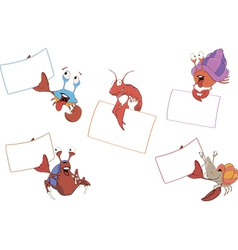 Set of crabs with the empty forms cartoon vector image