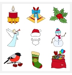 Set of Linear Colorful Christmas Icons vector image