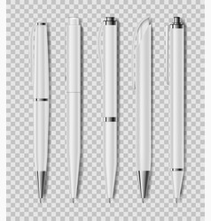 set office white pens isolated on transparent vector image
