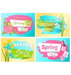 set spring sale advertisement label branch flowers vector image