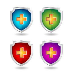 Shield badge icons set 3d shield badge icons vector