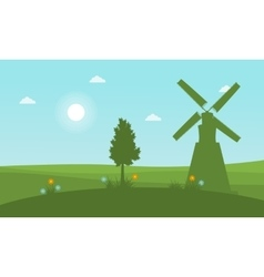 Silhouette of windmill and tree at spring vector