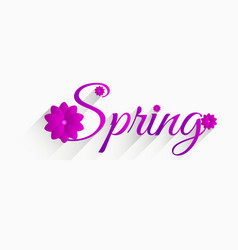 Spring inscription with flowers and long shadow vector
