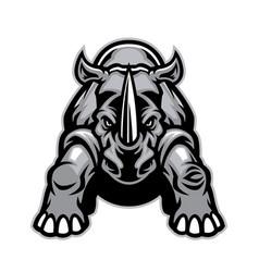 steady angry rhino mascot vector image