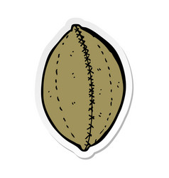 Sticker of a cartoon old leather football vector