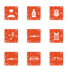 stop crime icons set grunge style vector image