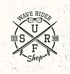 Surfing black vintage emblem badge label or logo vector
