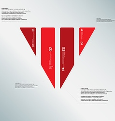 Triangle template consists of four red parts on vector
