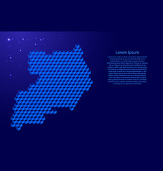 Uganda map from 3d classic blue color cubes vector