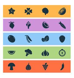 Vegetable icons set with mushroom virgin sorrel vector