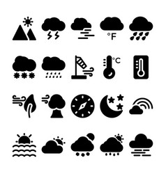 weather glyph icons set 2 vector image