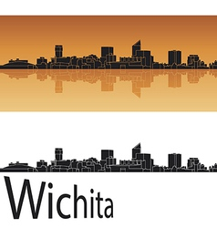 Wichita skyline in orange background vector image