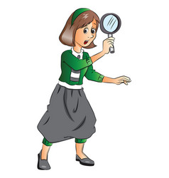 woman holding magnifying glass vector image