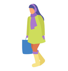 Woman walk alone in warm clothes and with handbag vector