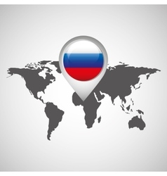 world map with pointer flag russian vector image
