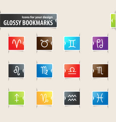 Zodiac bookmark icons vector