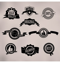 Black badges and ribbons vector image