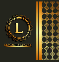 elegant and luxury font round frame decoration vector image