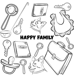 Hand drawn set with happy families vector image vector image