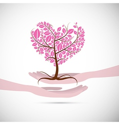 Heart Shaped Abstract Pink Tree in Human Hands vector image vector image