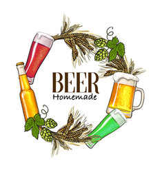 round frame of beer bottle mug glass malt and vector image vector image