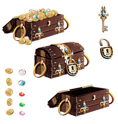 treasure chest with gold decorated vector image vector image