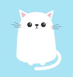 white cat sitting kitten cute cartoon kitty vector image vector image
