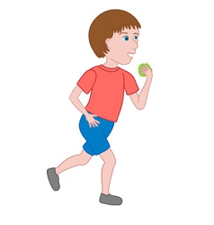 Boy walking and eating an apple vector image