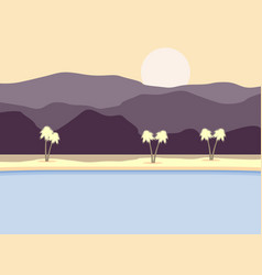coast with palm trees and mountains in background vector image vector image