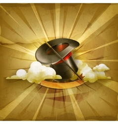 Magic cylinder hat old style background vector image vector image