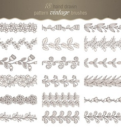 Set of 18 hand drawn pattern floral brushes vector image