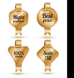 Set of gold banner with ribbon Labels Tags Retro vector image vector image