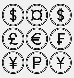 set of monochrome coin-like icons vector image vector image