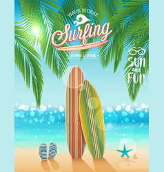 surfing poster with tropical beach background vector image vector image