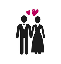 wedding marriage logo or label newlyweds bride vector image