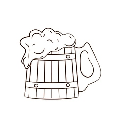 Wooden mug with full beer vector image