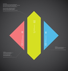 Rhombus template consists of three color parts on vector image vector image