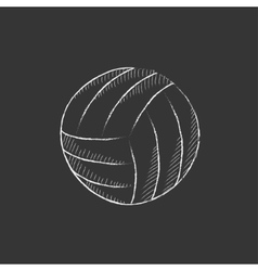 Volleyball ball drawn in chalk icon vector